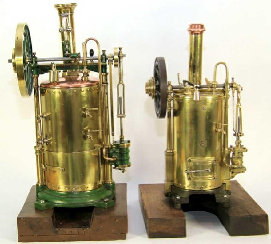 radiguet & massiot 2 dampfspielzeug stehende dampfmaschine stehender kupfer-kessel (messing-ummantelung;  vollausstattu