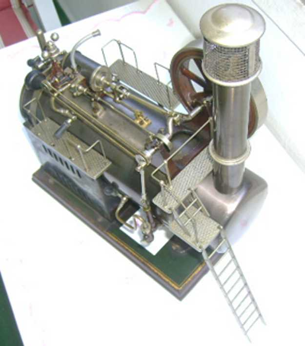 schoenner jean 107/14S dampfspielzeug stationaere lokomobile stationäres dampf-lokomobil, stahlblau oxidierter messingkes