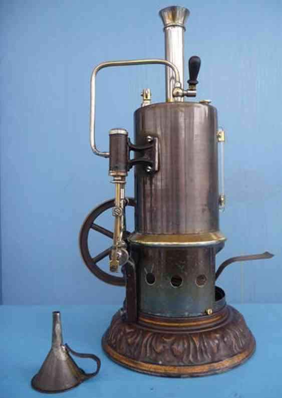 schoenner jean 101/3a dampfspielzeug stehende dampfmaschine phaenomen 5303a, dampfmaschine mit blau gebeiztem messingkes