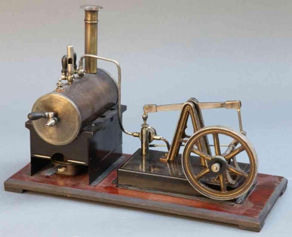 schoenner jean 110/2 dampfspielzeug liegende dampfmaschine balancier-dampfmaschine (system watt) auf poliertem holzfund