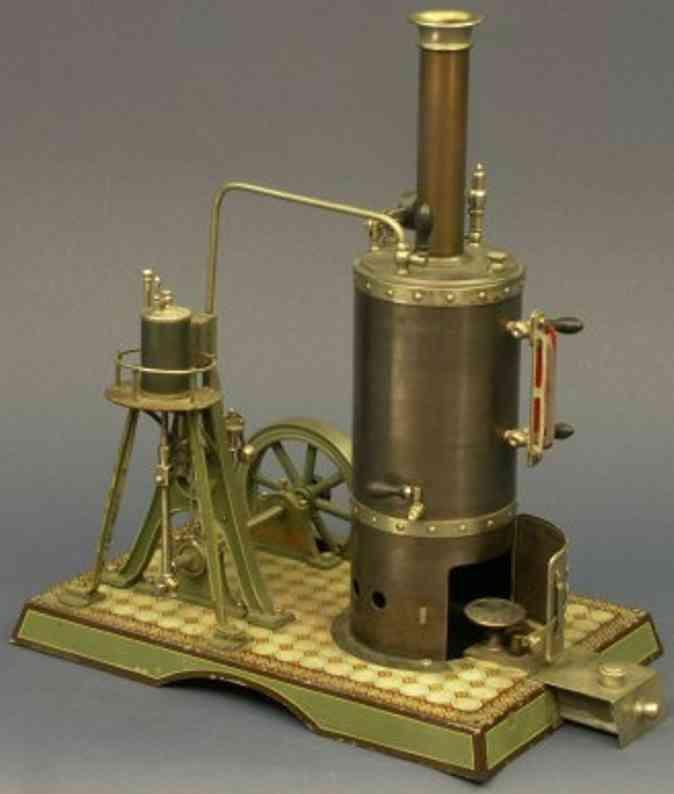 schoenner jean 164/4 dampfspielzeug stehende dampfmaschine stehende schiffsdampfmaschine, blau gebeizter messingkessel,