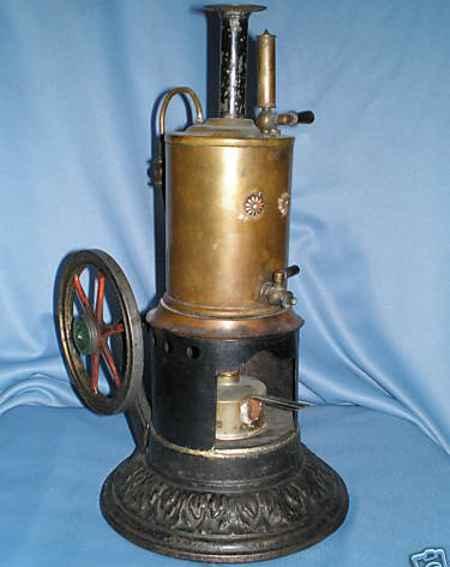 schoenner jean dampfspielzeug stehende dampfmaschine stehende dampfmaschine auf gußsockel mit verzierungen schwun