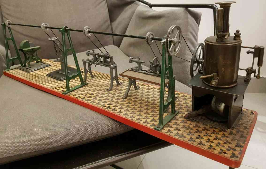 schoenner jean toy factory work station with vertical live steam engine plan
