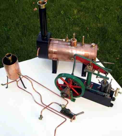 stuart liegende beam balancier dampfmaschine kupfer messing stahl