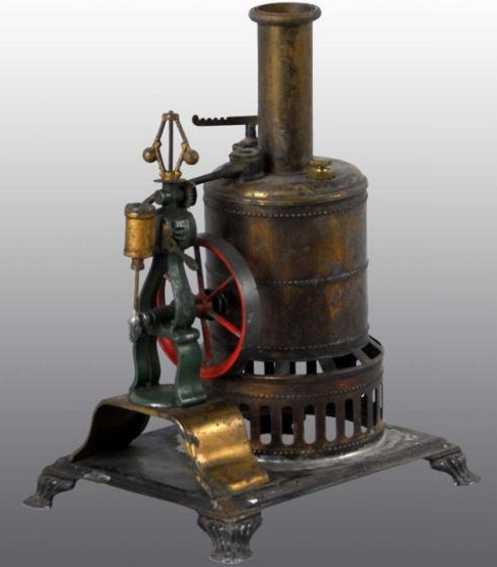 weeden 17 dampfspielzeug stehende dampfmaschine dampfmschine bemlt in grün, rot und goldfarben, messingkesse