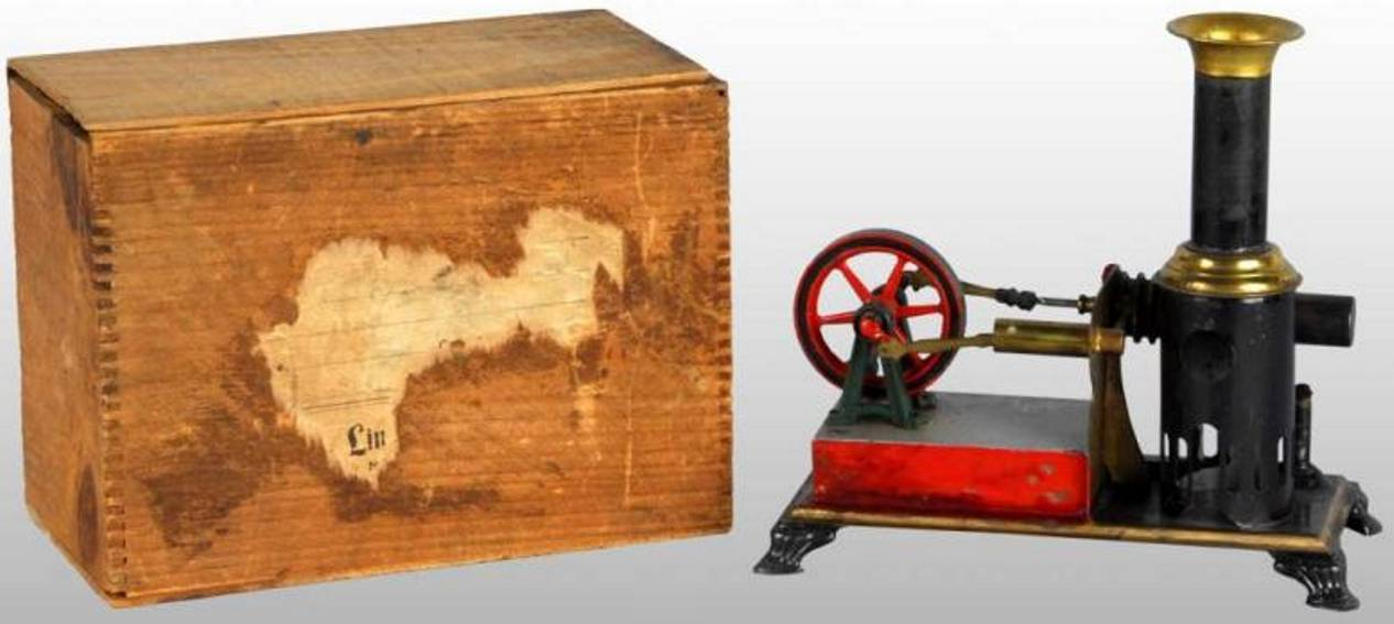 weeden 23 steam toy standing hot air motor hot air steam engine with wood box. his engine runs on the p
