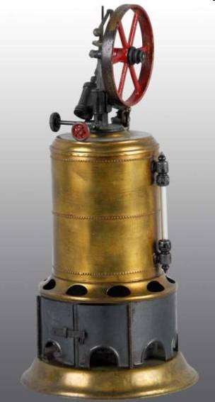weeden 6 vertical steam toy upright steam engine. it has a waterglass, whistle, flyball