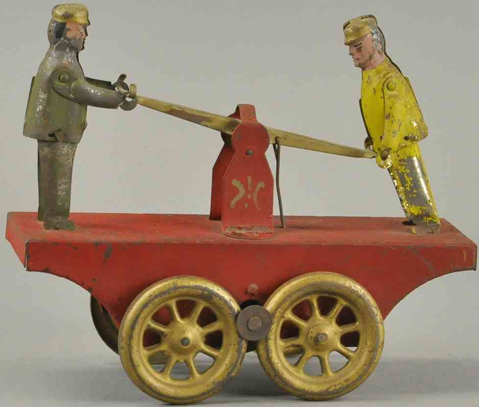 dayton friction railway toy draisine drive handcar red two figures
