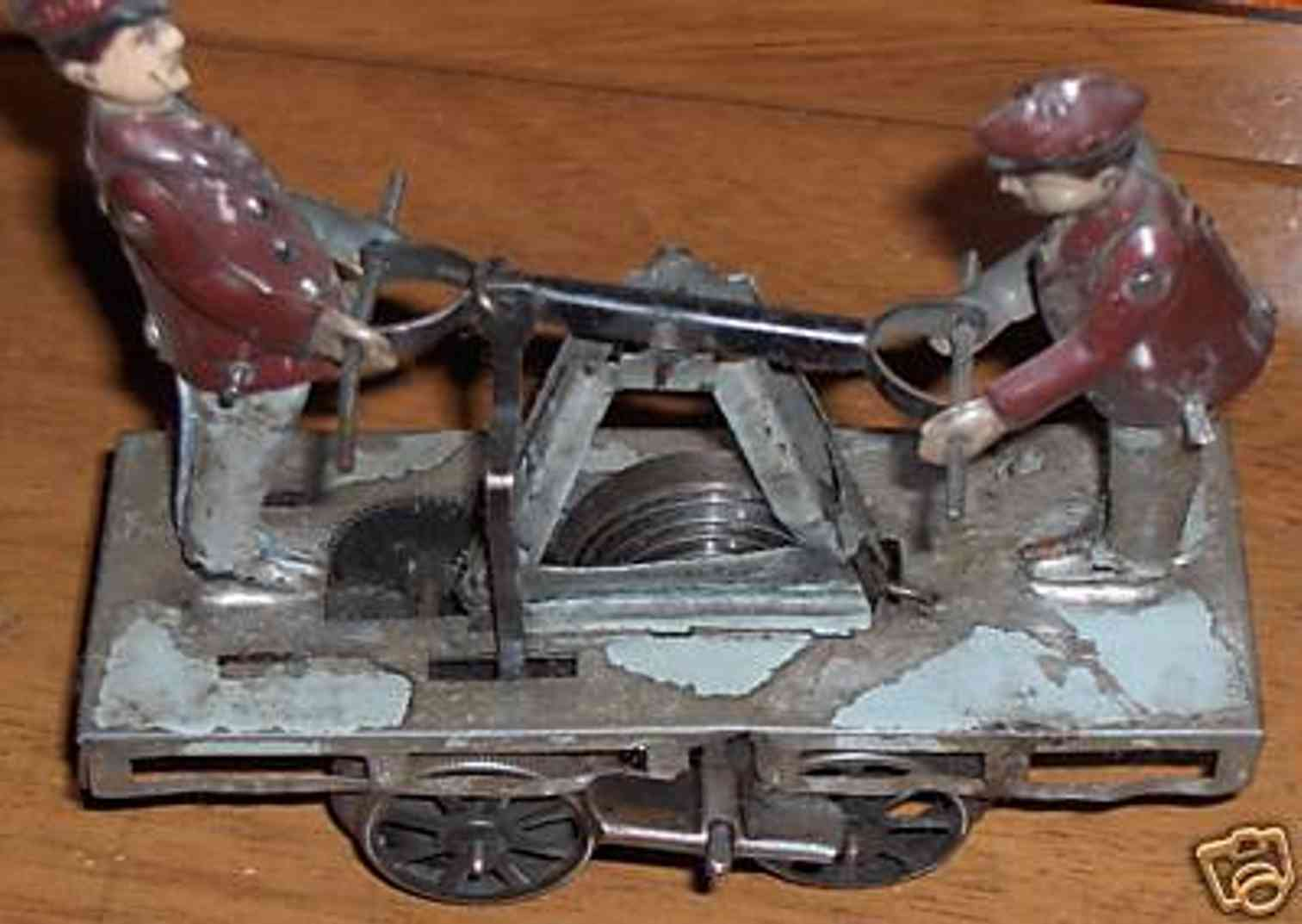 guenthermann railway toy draisine handcart clockwork two figures