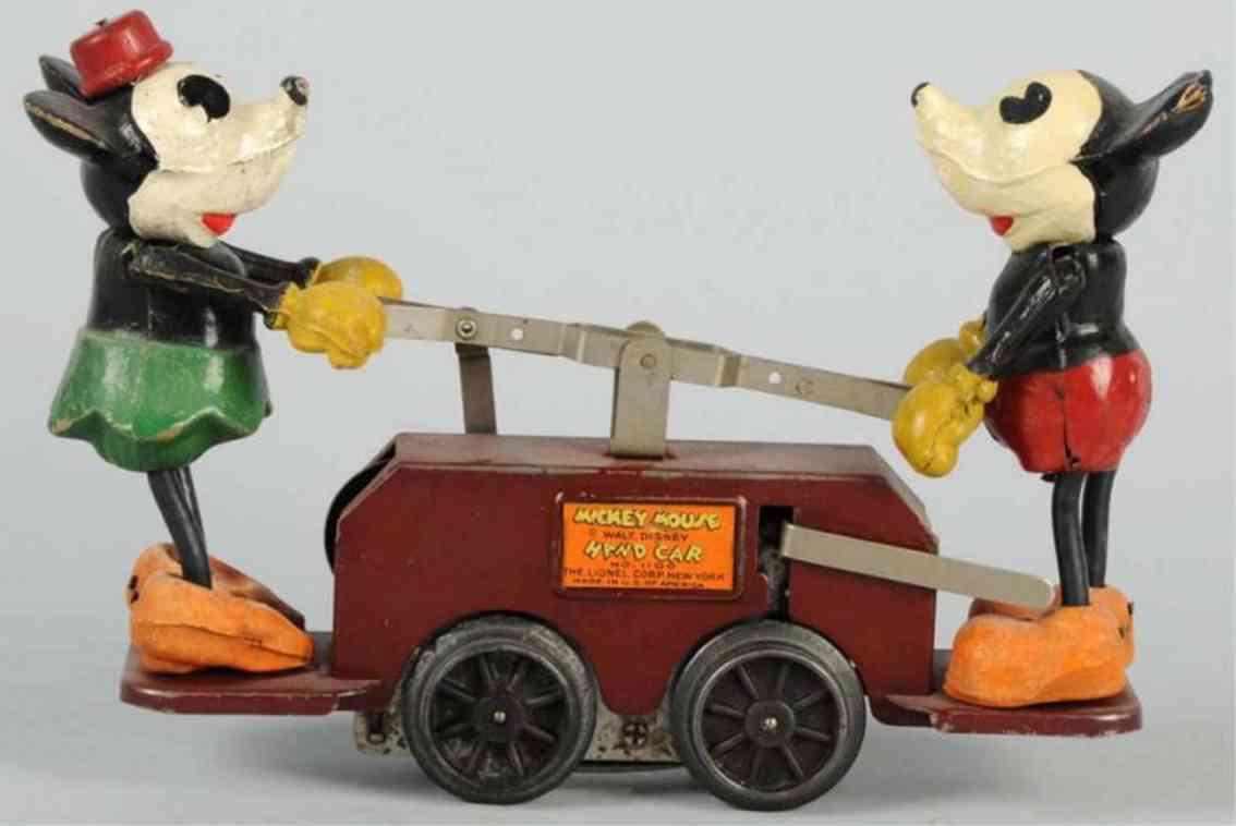 lionel mickey  21 spielzeug eisenbahn draisine walt disney micky maus handwagen