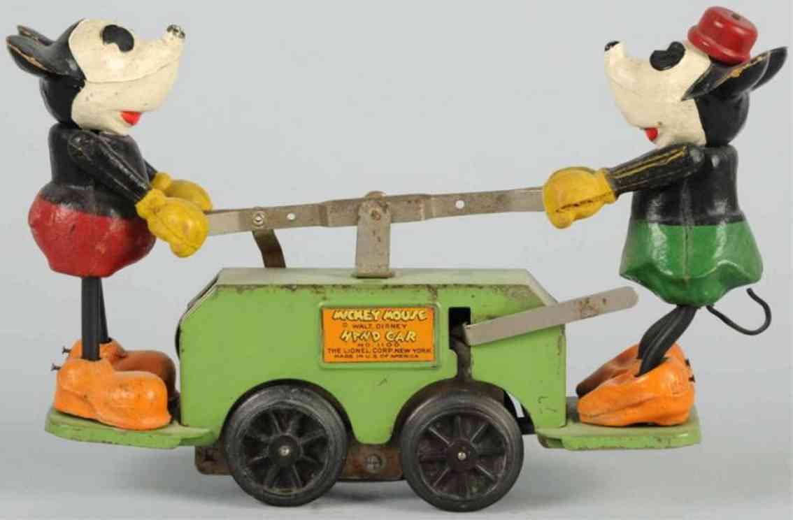 lionel mickey 1100 spielzeug eisenbahn draisine walt disney micky maus und minnie handwagen