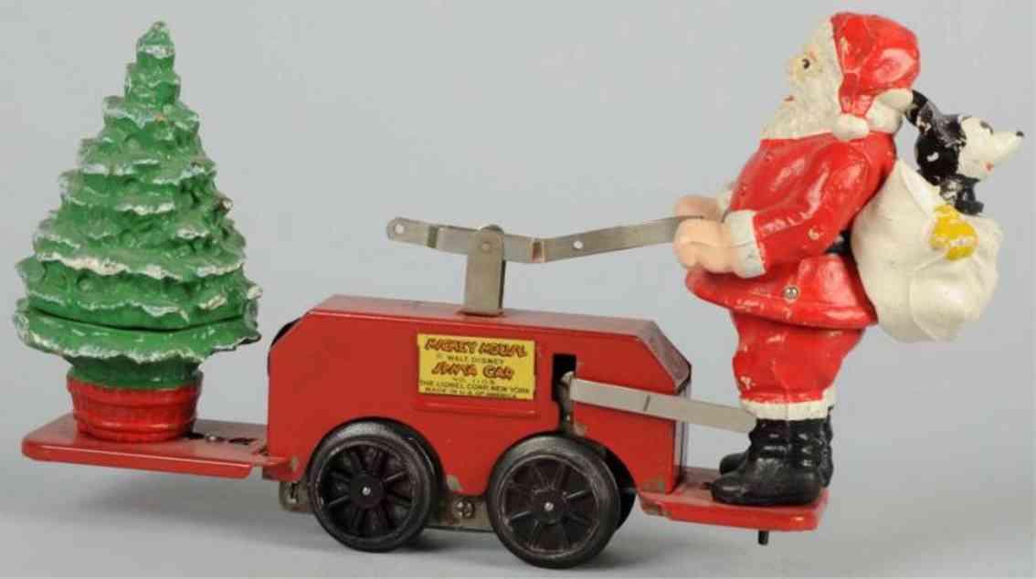 lionel Santa spielzeug eisenbahn draisine weihnachtsmann handwagen