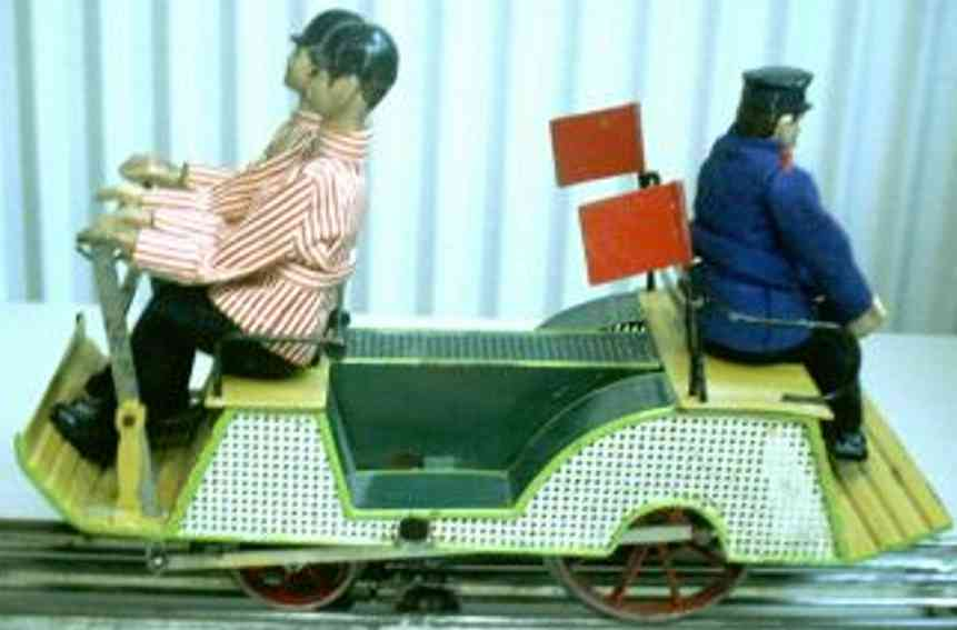 marklin maerklin 1110 (2431) railway toy draisine hand trolley in many colors hand-coated, with 3 men, lever d