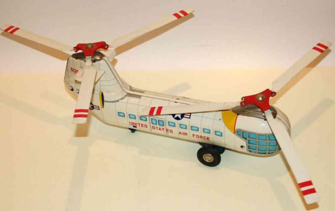 alps blech spielzeug flugzeug doppelrotor-hubschrauber piasecki u.s.air force mit schwungr