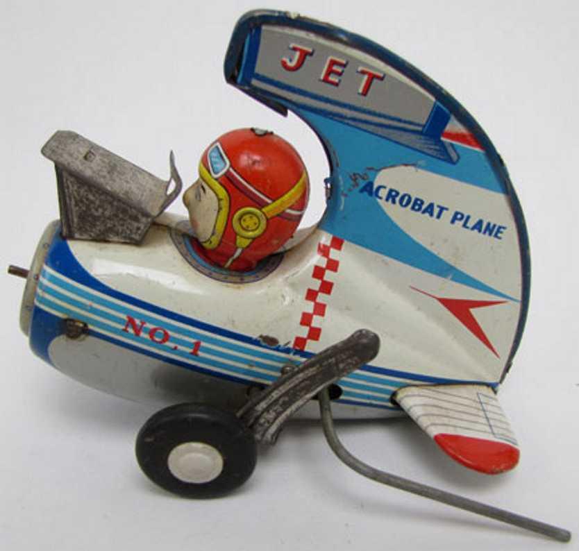 alps blech spielzeug flugzeug akrobat mit düsenflugzeug, lithografiert, mit gummirädern un