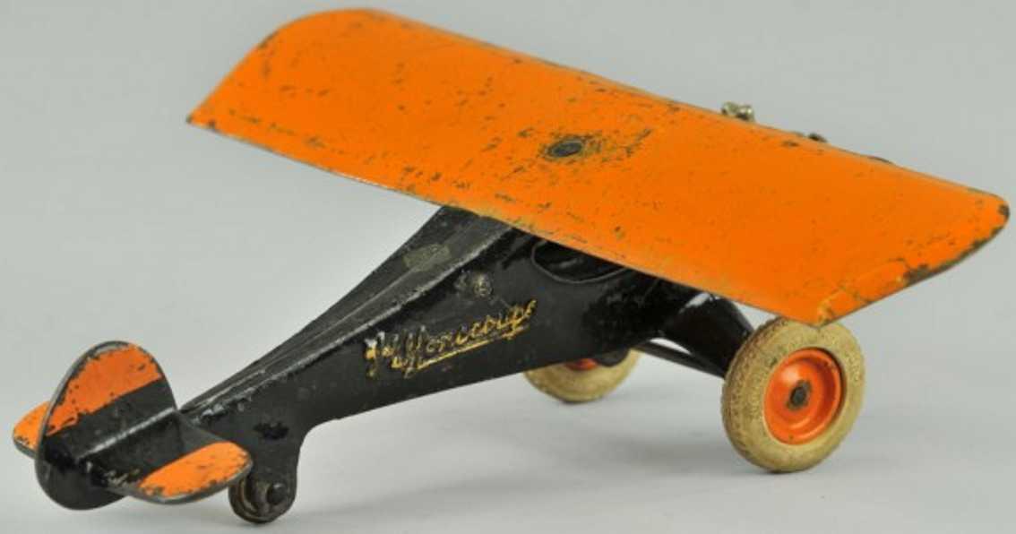 arcade 357 spielzeug gusseisen flugzeug the monocoupe orange schwarz