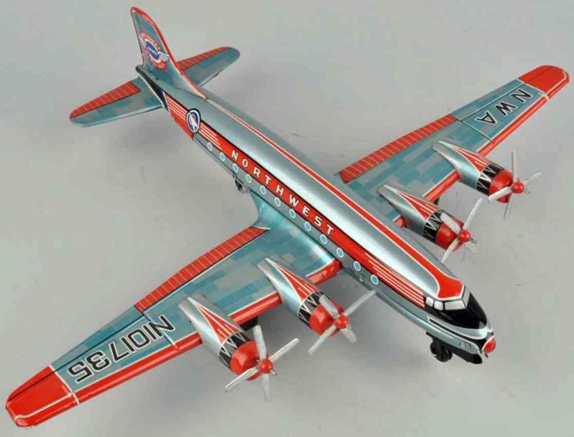 asahi atc tin toy northwest airplane with friction drive