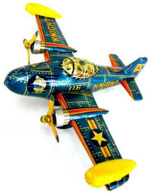 bandai tin toy airplane knight propeller friction rotation fighter airplane