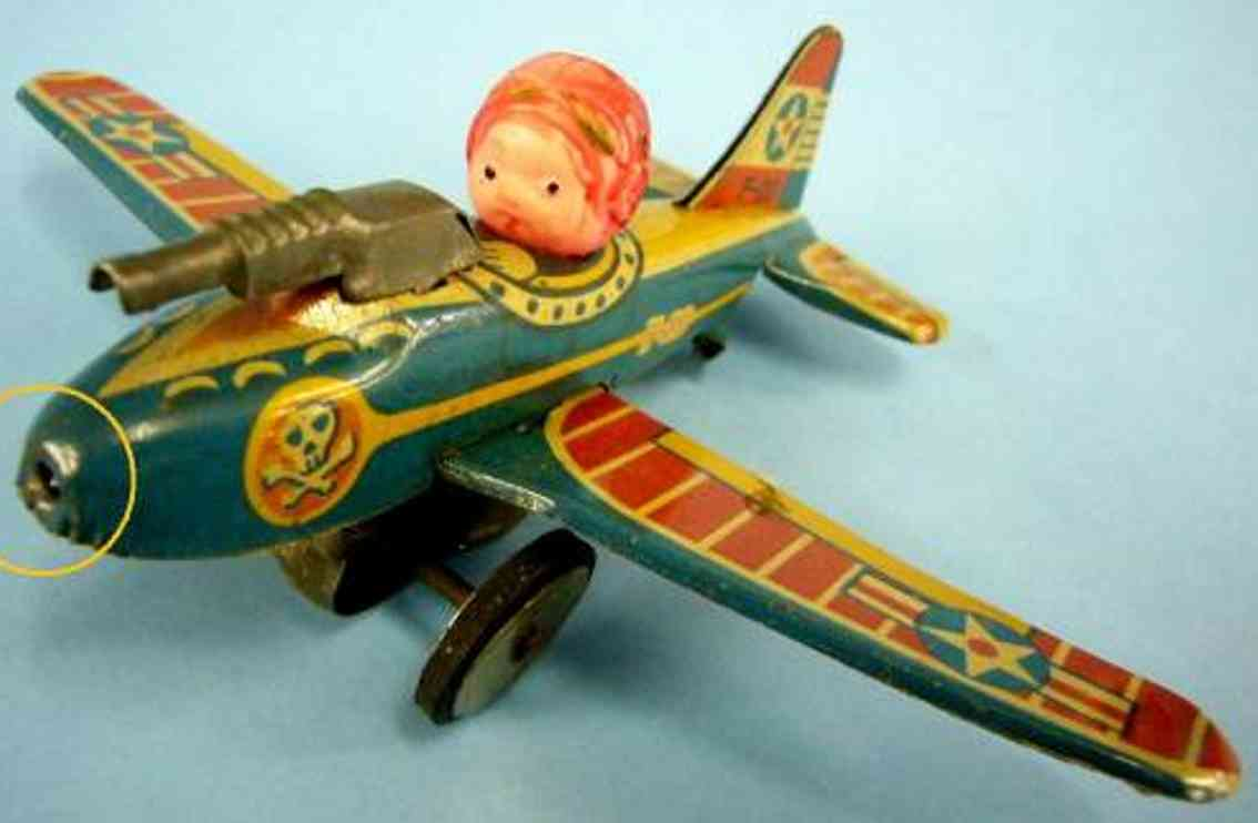 bandai blech spielzeug flugzeug us luftwaffen propeller-flugzeug mit pilot und maschinengewe