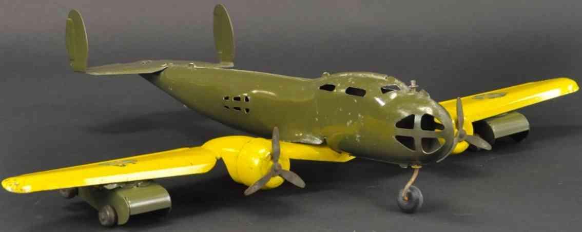 buddy l stahlblech bomber-flugzeug khaki gelb