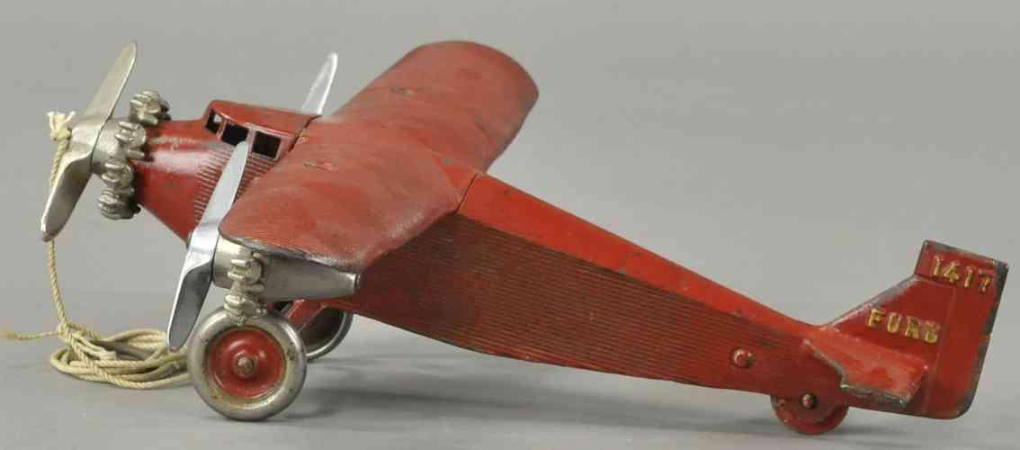 dent hardware co 1417 ford  spielzeug gusseisen dreimotoriges flugzeug rot