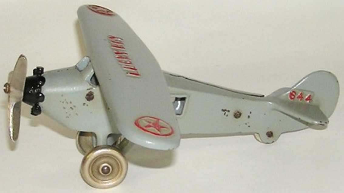 dent hardware co 644 cast iron toy lucky boy airplane