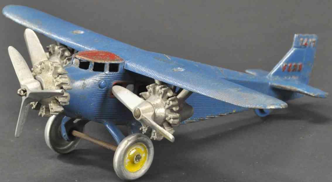 dent hardware co spielzeug gusseisen dreimotoriges ford flugzeug blau