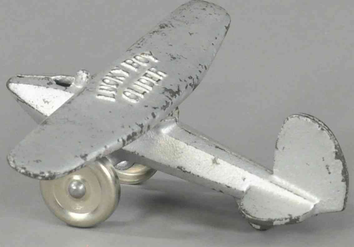dent hardware co spielzeug gusseisen flugzeug silbern  lucky boy glider