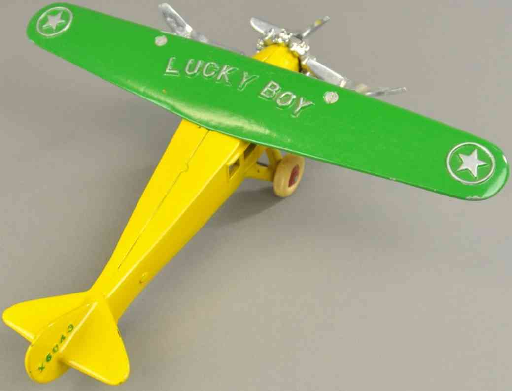 dent hardware co spielzeug gusseisen dreimotoriges flugzeug lucky boy gruen gelb