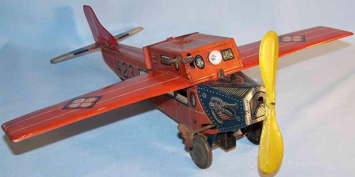 distler 423 blech spielzeug flugzeug hochdecker uhrwerk rot