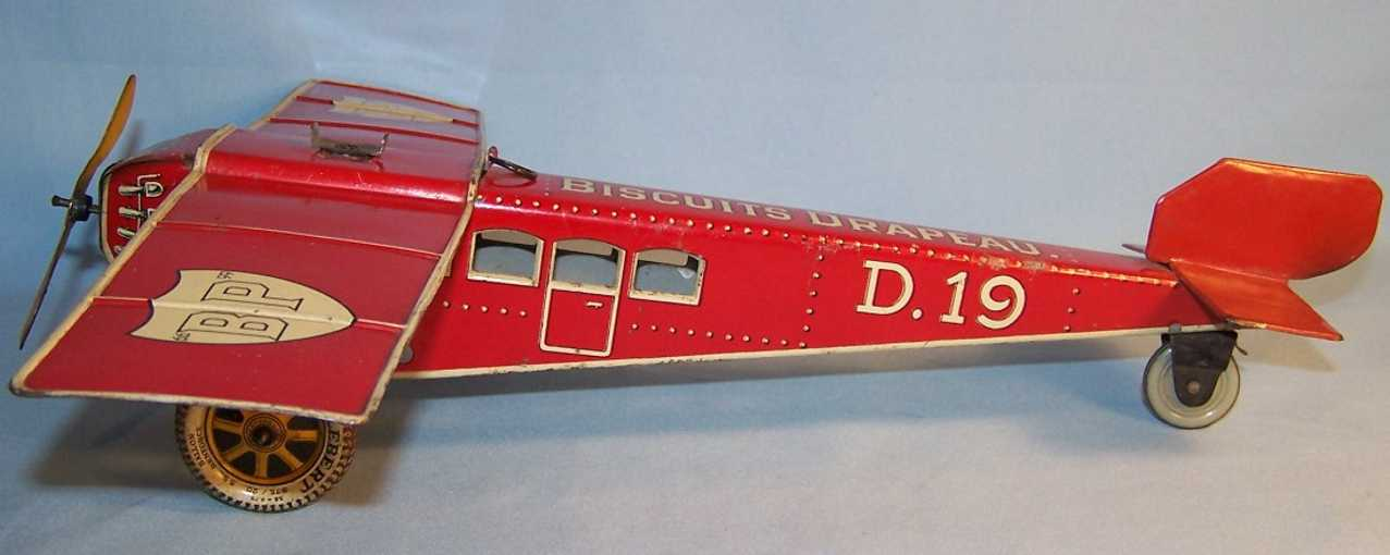 distler johann d 19 tin toy airplane with clockwork red white