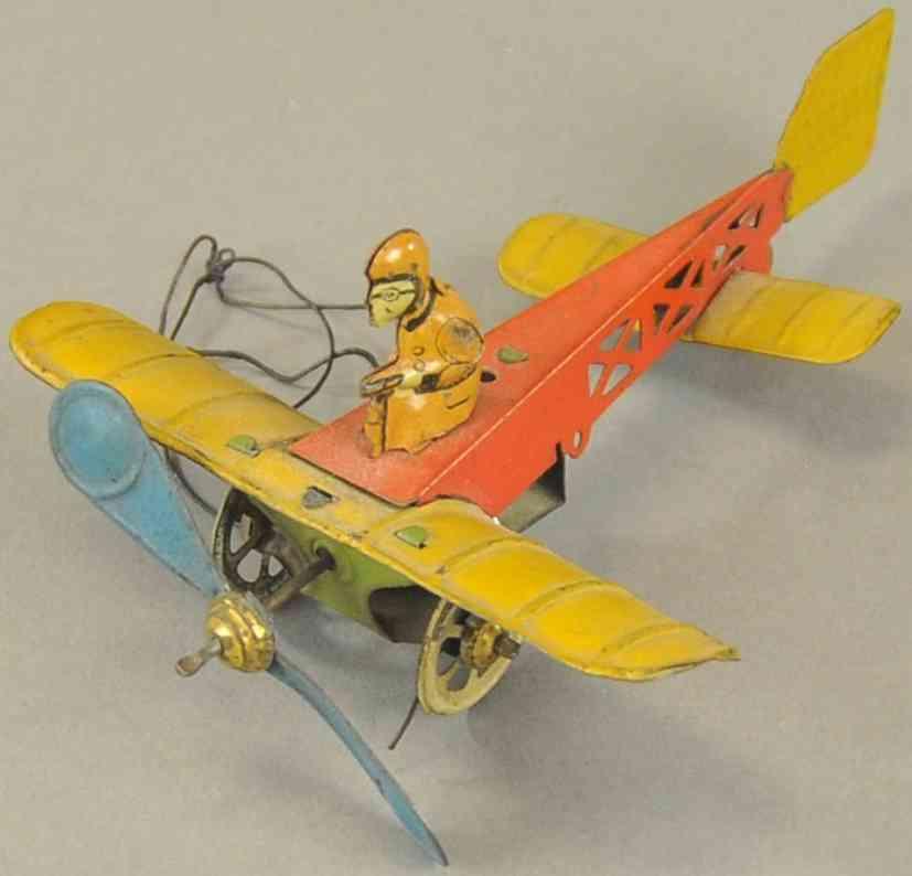 distler blech spielzeug bieriot flugzeug eindecker pilot