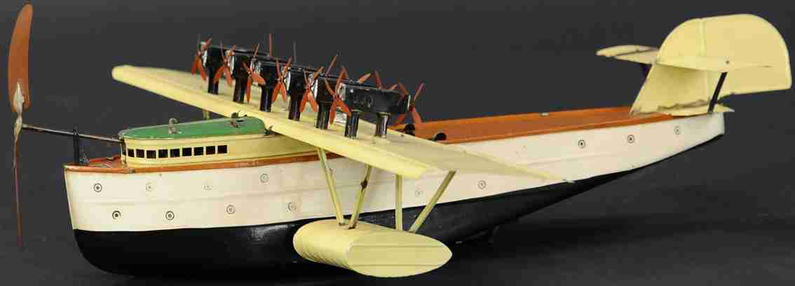 fleischmann 3610 tin toy passenger airplane pontoon seaplane dox wind-up