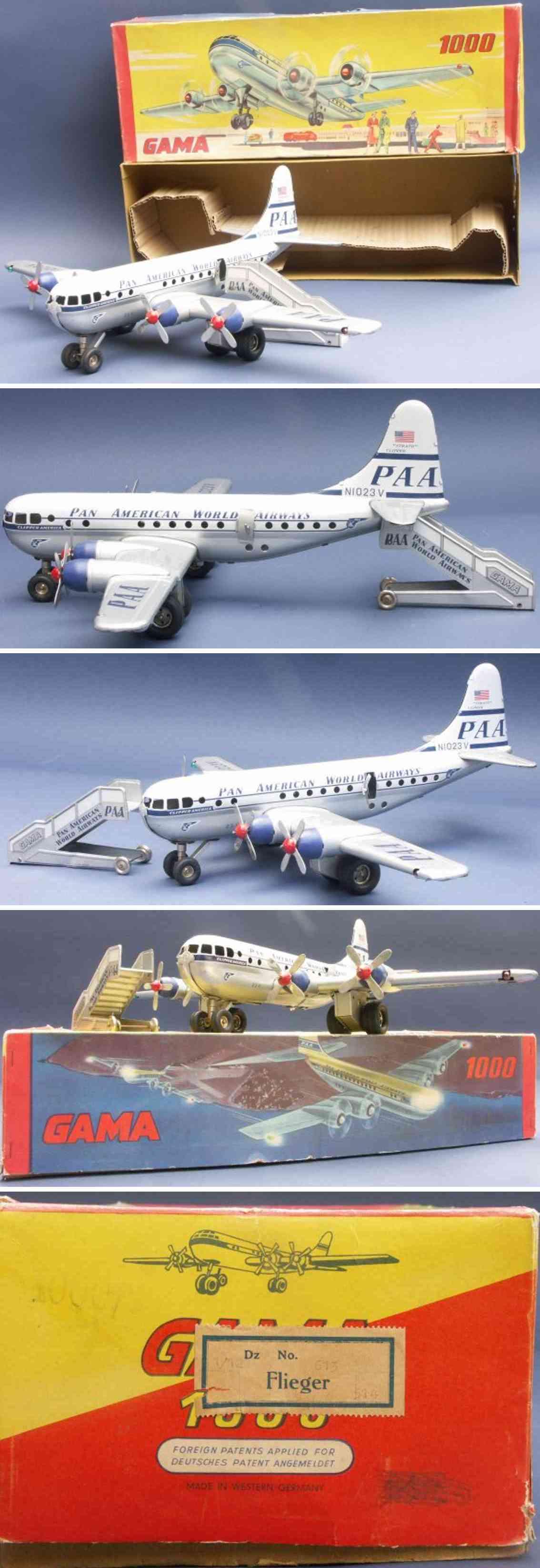 gama 1000/2 blech spielzeug flugzeug strato clipper der pan american world airways