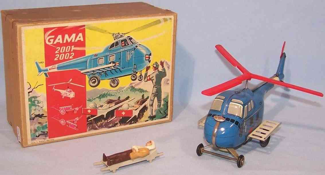 gama 2001 tin toy airplane helicopter flywheel litter patient