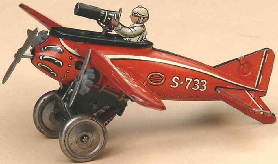 gescha s733 blech spielzeug jagdflugzeug rot