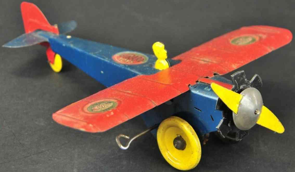 girard stahl spielzeug postflugzeug  blau rot