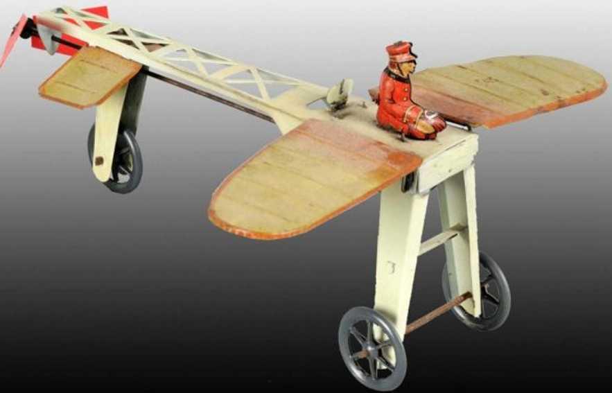 guenthermann blech spielzeug flugzeug flügelflugzeug mit uhrwer und platikproppellern