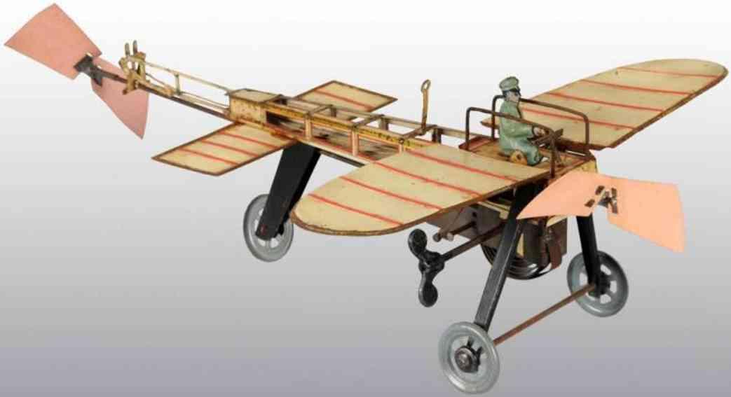 guenthermann blech spielzeug flugzeug flügelflugzeug mit uhrwerk, aufgezogen drehtn sich der hinte
