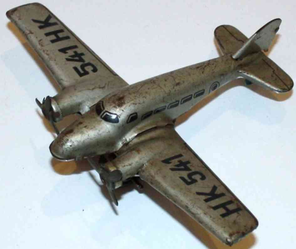 hammerer & kuhlwein tin toy airplane hk 541 with clockwork