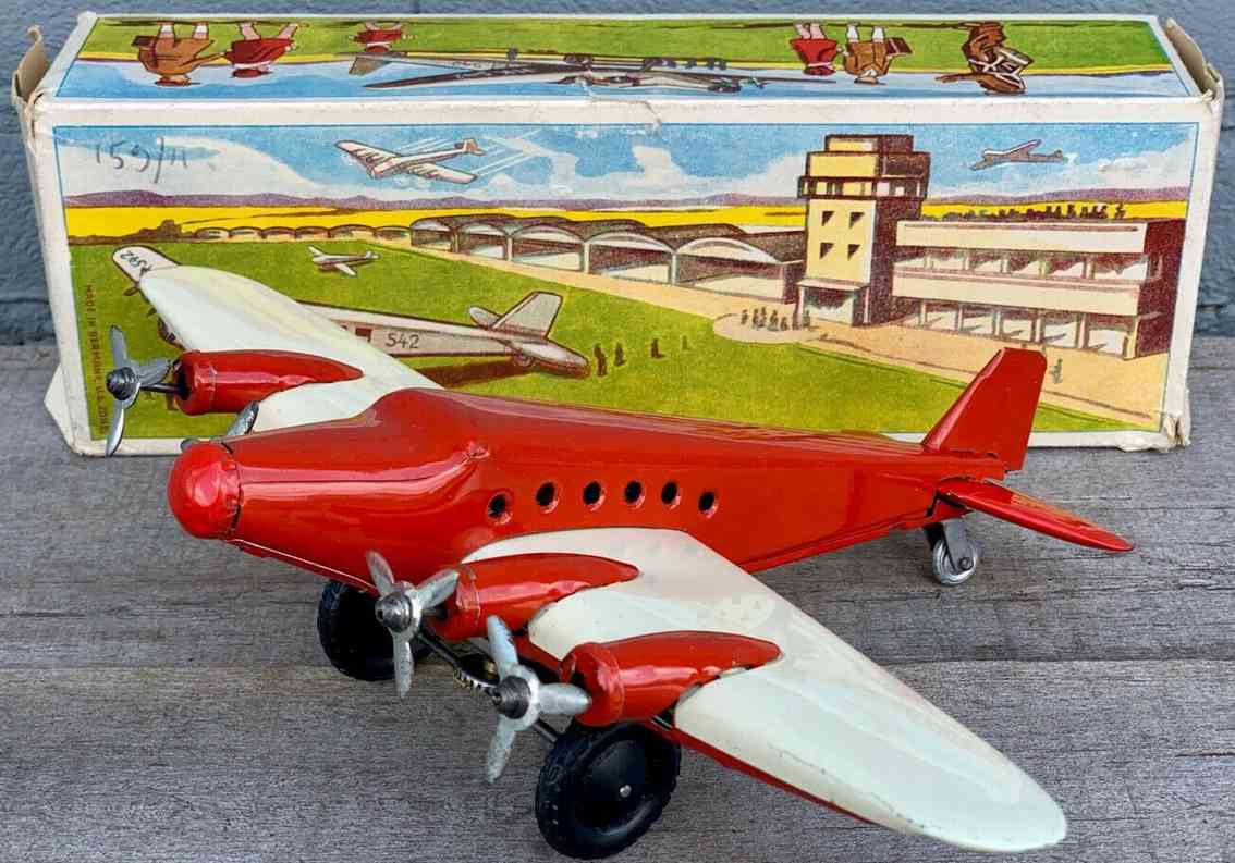 hammerer & kuehlwein mz 542 blech spielzeug flugzeug mit uhrwerk