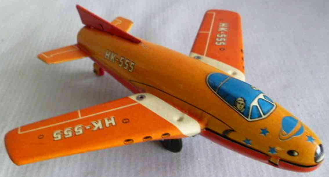 hammerer & kuhlwein tin toy airplane hk-555 with friction drive in red