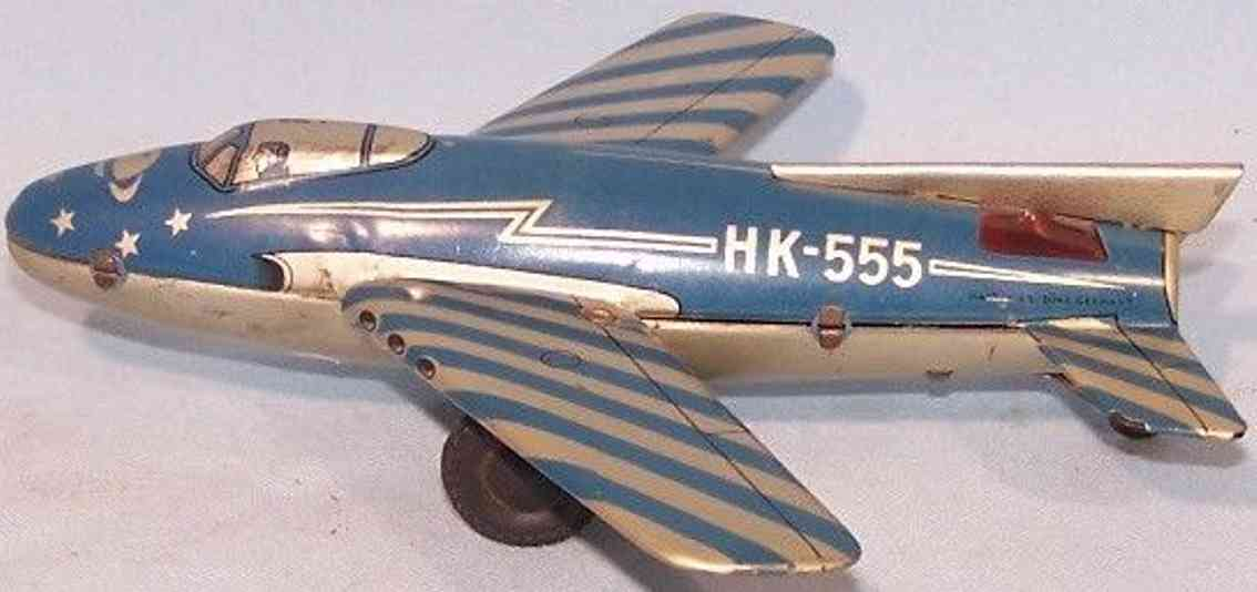 hammerer & kuhlwein tin toy airplane hk-555 with friction drive in blue
