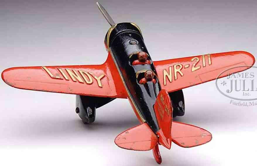 hubley 29 spielzeug gusseisen flugzeug rot schwarz lockheed sirius