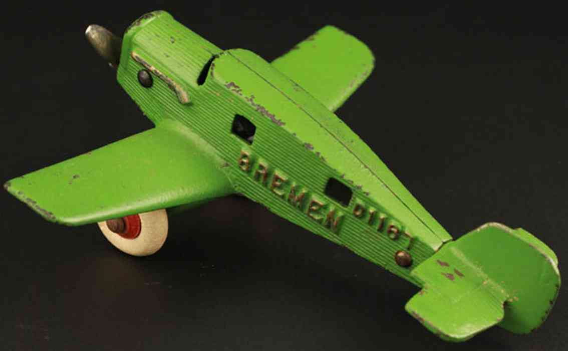 hubley d1167 cast iron toy airplane bremen lime green