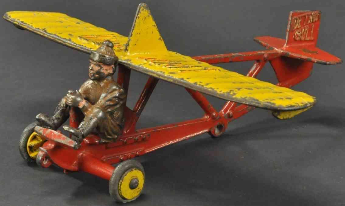 hubley lindy spielzeug gusseisen segelflugzeug  in rot