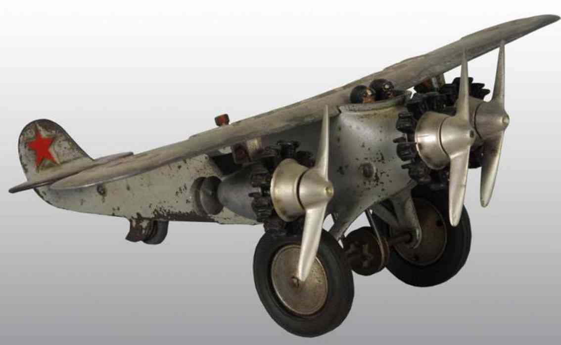 hubley cast iron toy america airplane