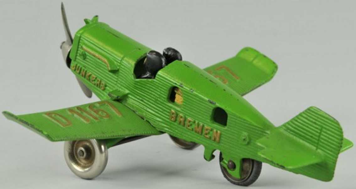 hubley junkers cast iron toy airplane bremen green