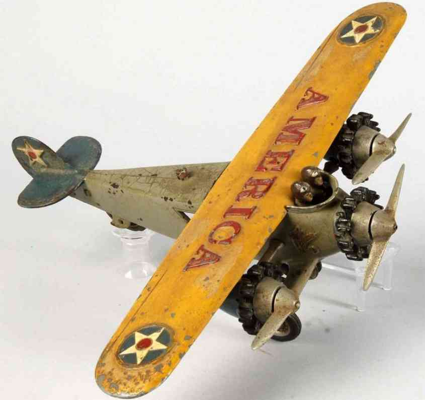 hubley cast iron toy tri-motor airplane