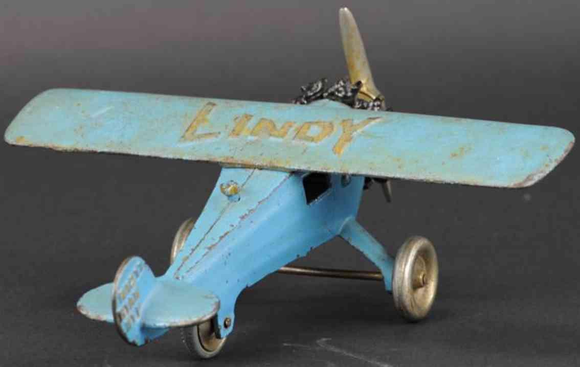 hubley spielzeug gusseisen flugzeug blau lindy